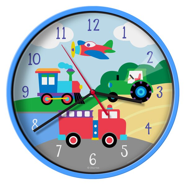 Olive Kids Trains, Planes, Trucks 12 Wall Clock by Wildkin