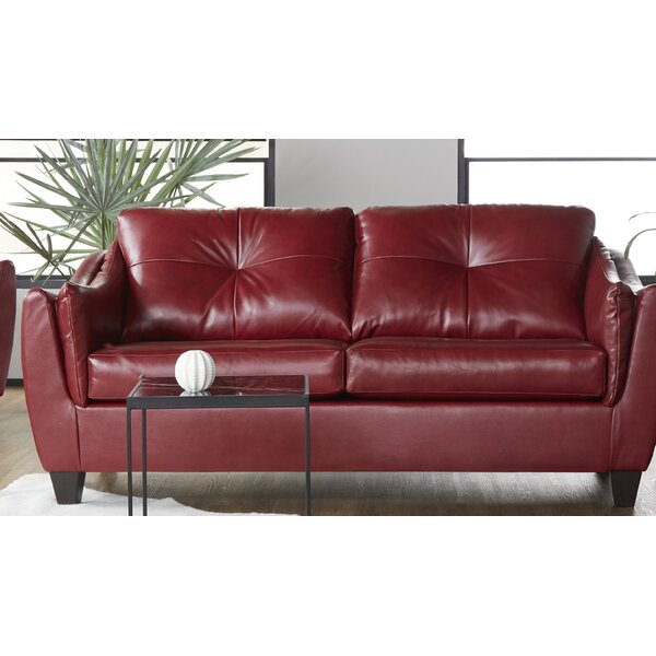 New Look Style Manatuto Leather Sofa by Ebern Designs by Ebern Designs