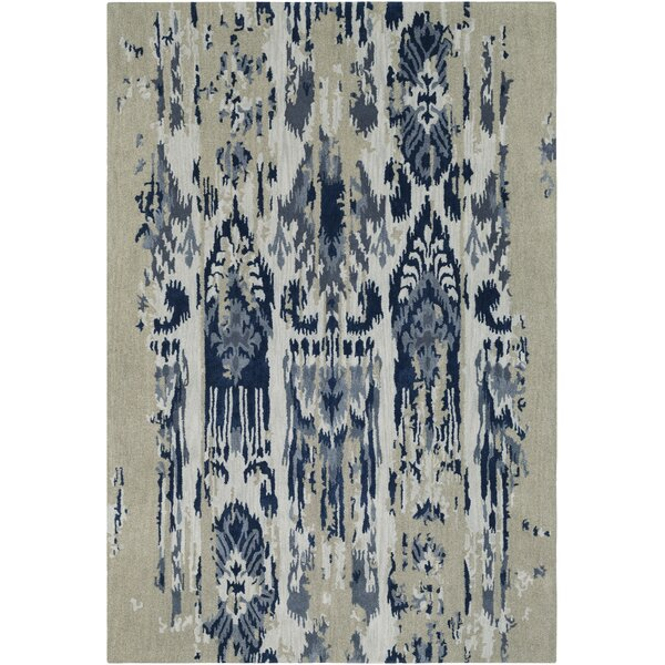 Corinne Hand-Tufted Medium Gray/Navy Area Rug by Bungalow Rose