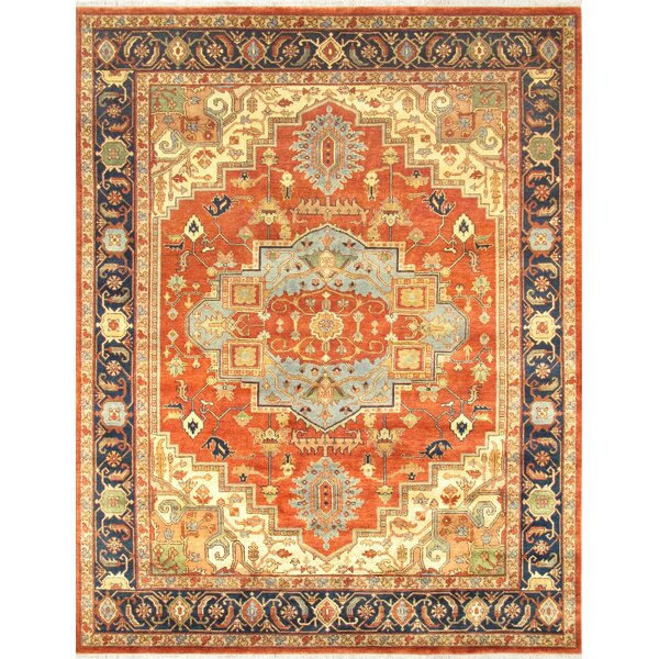 Serapi Hand-Knotted Rust/Navy Area Rug by Pasargad