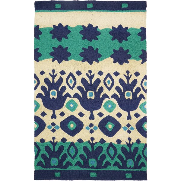 Vine Ikat Hand-Hooked Blue/Green Indoor/Outdoor Area Rug by Ebern Designs