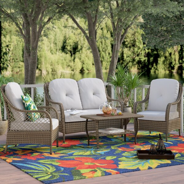 Carly 4 Piece Rattan Sofa Seating Group with Cushions by Lark Manor