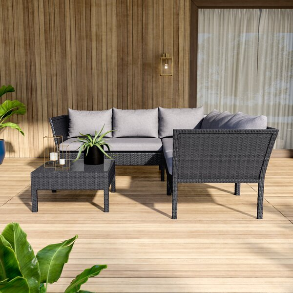 Charney 4 Piece Sectional Seating Group With Cushions by Mercury Row