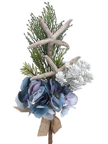 Hydrangea, Starfish and Pine Spray Stem by Highland Dunes
