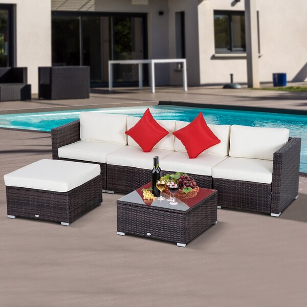 Barnett 6 Piece Rattan Sectional Seating Group with Cushions by Sol 72 Outdoor