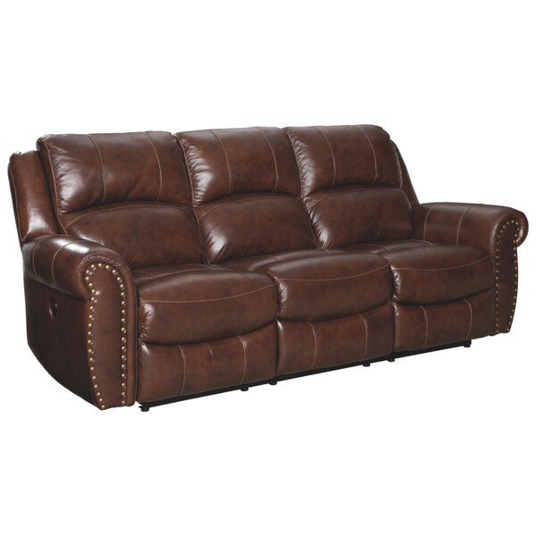 Winter Shop Dunford Leather Reclining Sofa by Millwood Pines by Millwood Pines