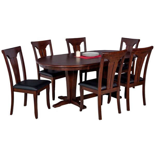 Doretha 7 Piece Solid Wood Dining Set with Dual Pedestal Table by Darby Home Co