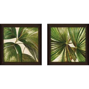Through the Leaves' 2 Piece Framed Acrylic Painting Print Set Under Glass by Bayou Breeze