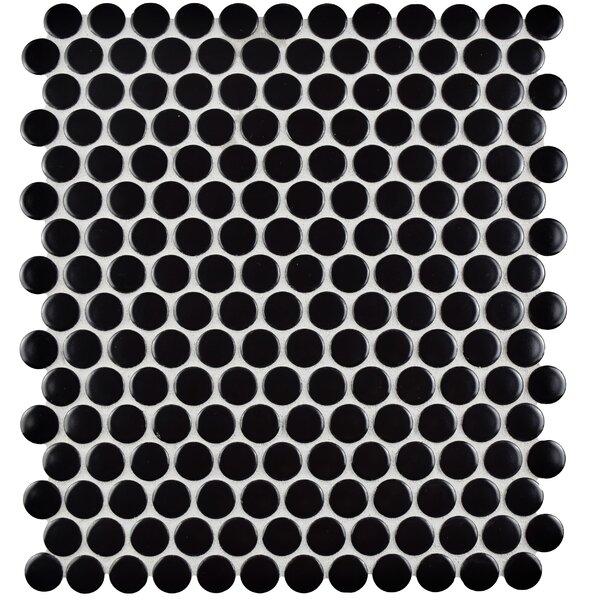 Retro Penny Round 9.75 x 11.5 Porcelain Mosaic Tile in Black by EliteTile