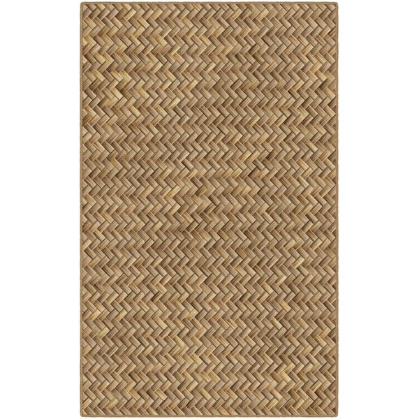 Powell Basket Weave Tan Area Rug by Bay Isle Home