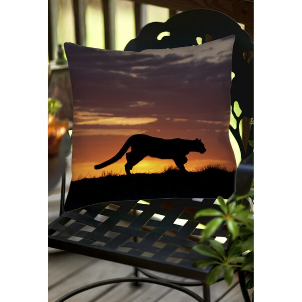 Cougar Silhouette Indoor/Outdoor Throw Pillow by Manual Woodworkers & Weavers