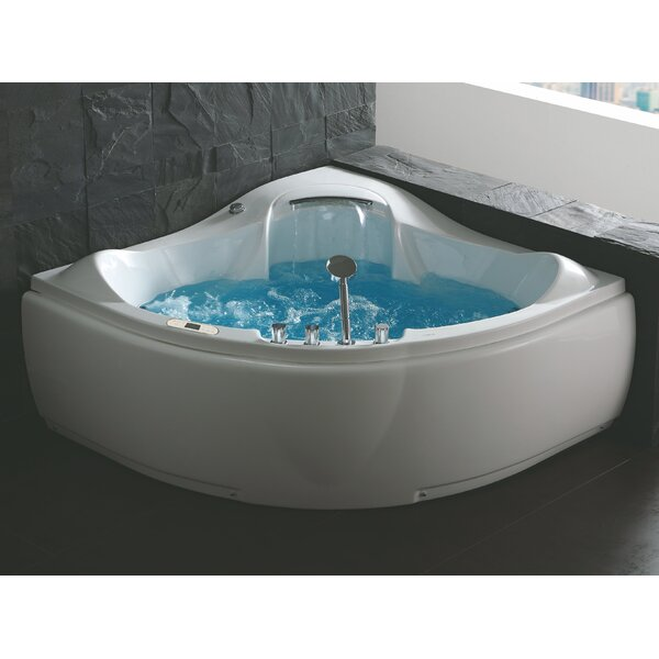 Waterfall 59 x 59 Corner Whirlpool Bathtub by EAGO