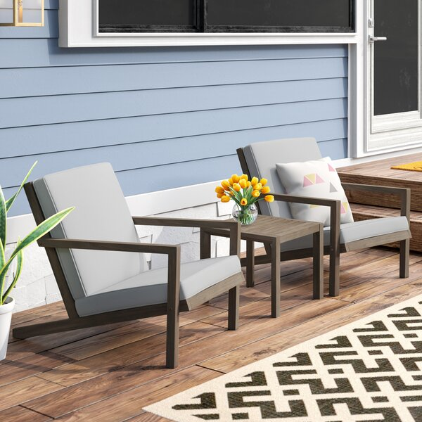 Dehn 3 Piece Conversation Set with Cushions by Mercury Row