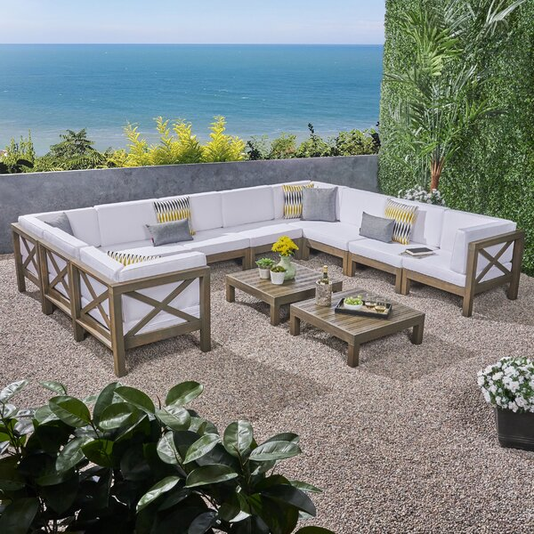 Abbie 10 Piece Sectional Seating Group with Cushion by Longshore Tides