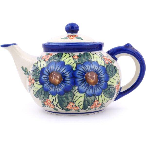 Blue Bouquet Polish Pottery 1.63 qt. Stoneware Teapot by Polmedia