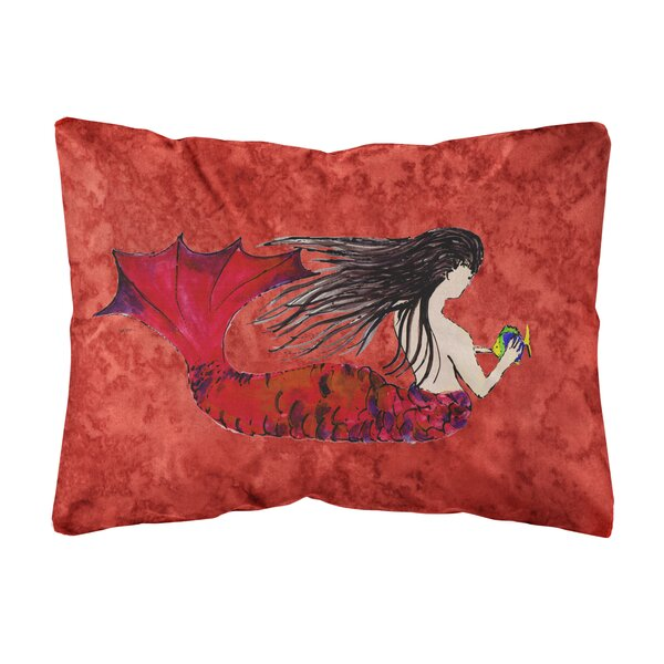 Della Haired Mermaid Indoor/Outdoor Throw Pillow by Highland Dunes