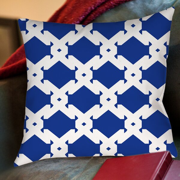 Modern Geometric Sapphire Printed Throw Pillow by Manual Woodworkers & Weavers