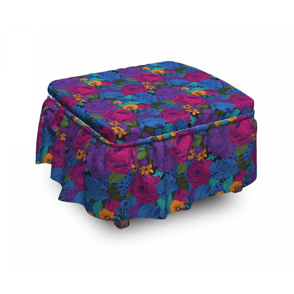 Floral Vintage Lush Bouquet 2 Piece Box Cushion Ottoman Slipcover Set By East Urban Home