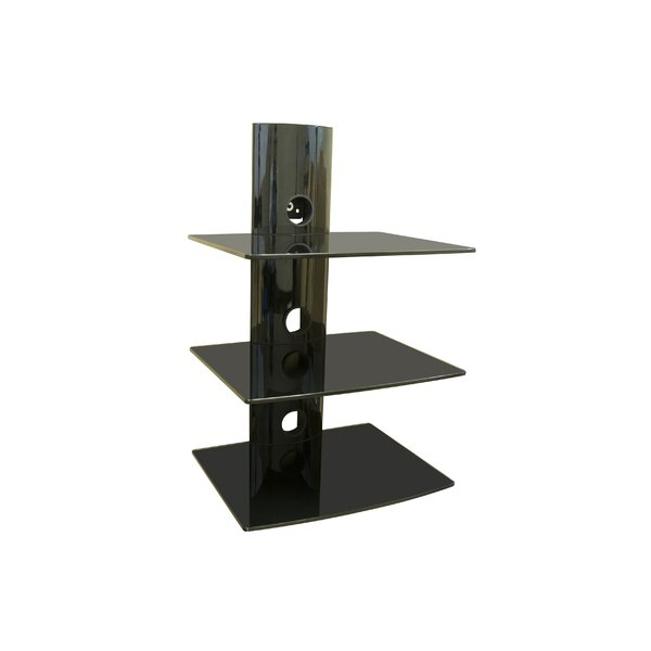 Triple Glass DVD/DVR/Component Wall Mount Shelf by