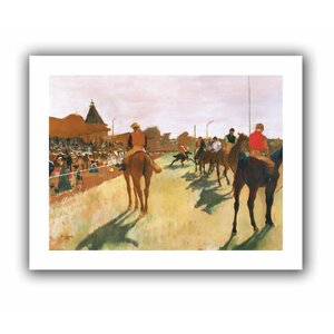 The Parade, or Race Horses in front of The Stands' by Edgar Degas  Painting Print on Rolled Canvas by ArtWall