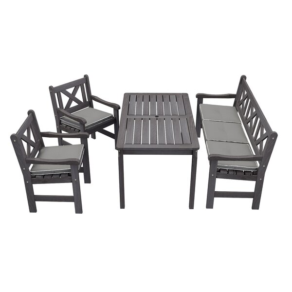 Irton 4 Piece Dining Set With Cushions by Gracie Oaks