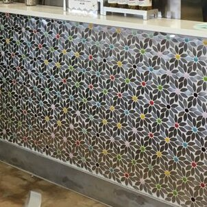 Signature Line Daisy Chain Glass/Stainless Steel Mosaic Tile in Brown/Gray by Susan Jablon
