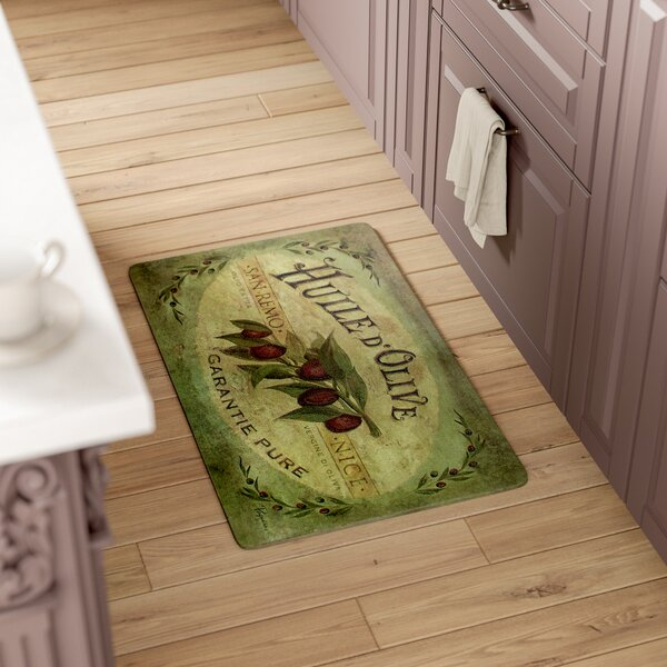 Ann Vintage Olive Oil Kitchen Mat by Fleur De Lis Living