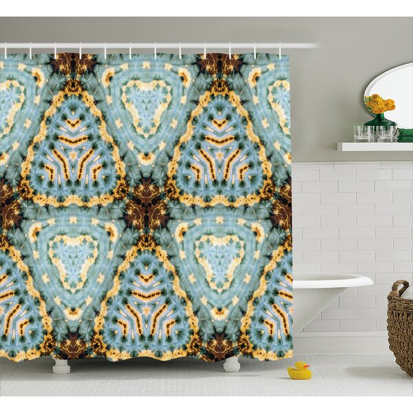 Robles Classic Tie Dye Batik Motif With Bizarre Oriental Multiple Icons Aesthetic Shower Curtain by World Menagerie