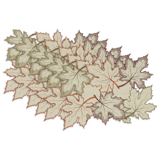 Pitcairn Maple Leaves Embroidered Placemat (Set of 6) by Red Barrel Studio