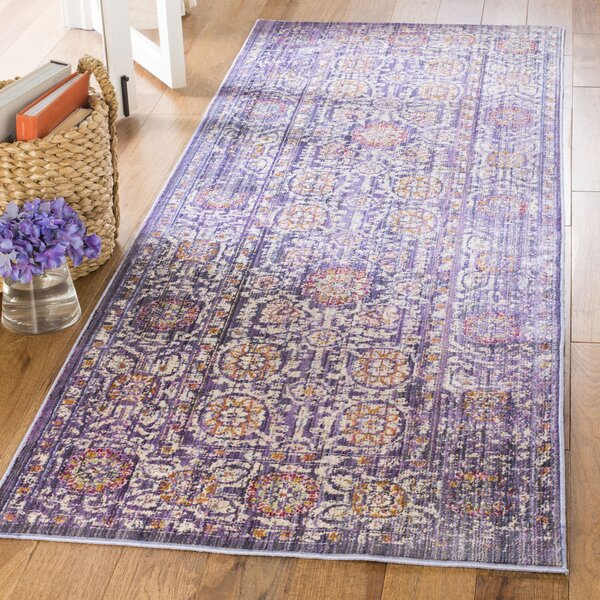 Justine Beige/Purple Area Rug by Bungalow Rose