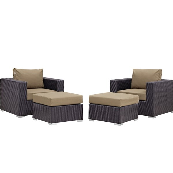 Brentwood 4 Piece Lounge Patio Chair with Cushions by Sol 72 Outdoor