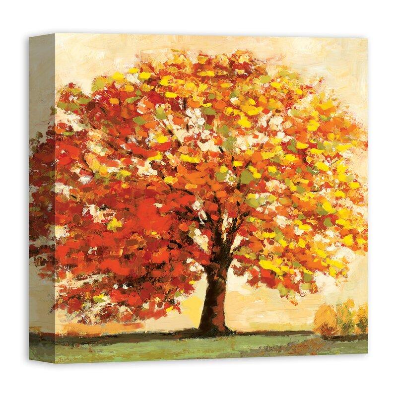 Winston Porter Fall Tree Acrylic Painting Print On Canvas Wayfair