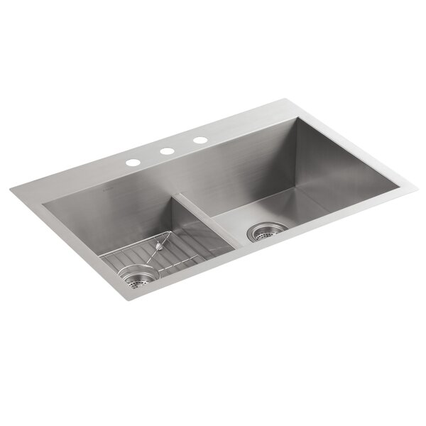 Vault 33 L x 22 W x 9-5/16 Smart Divide Top-Mount/Under-Mount Double-Equal Bowl Kitchen Sink with 3 Faucet Holes by Kohler
