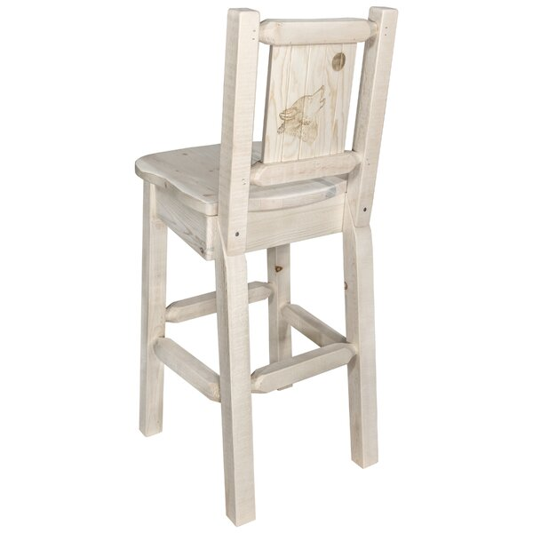 Haleigh 30 Barstool with Back and Laser Engraved Wolf Design by Mistana