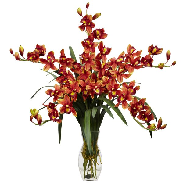Cymbidium Orchid Silk Flower Arrangement by Nearly Natural