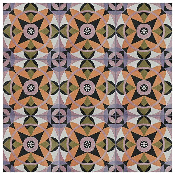 Helen 9.75 x 9.75 Porcelain Field Tile in Black/Orange by EliteTile