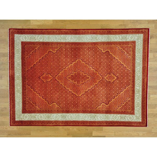 One-of-a-Kind Bean Mahi Hand-Knotted Red Wool/Silk Area Rug by Isabelline