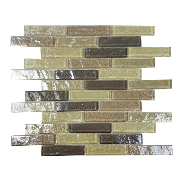 Geo 1 x 4 Glass Mosaic Tile in Light Brown by Abolos