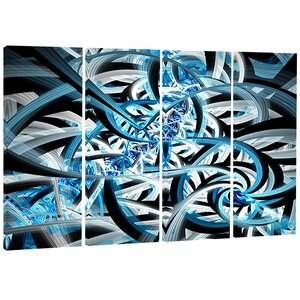 Spiral Fractal Design - Abstract Digital 4 Piece Graphic Art on Wrapped Canvas Set by Design Art