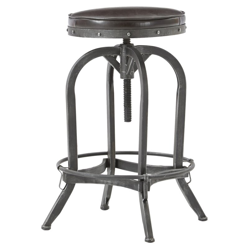 Adjustable Height Swivel Bar Stool. Industrial Farmhouse Style on Hello Lovely!