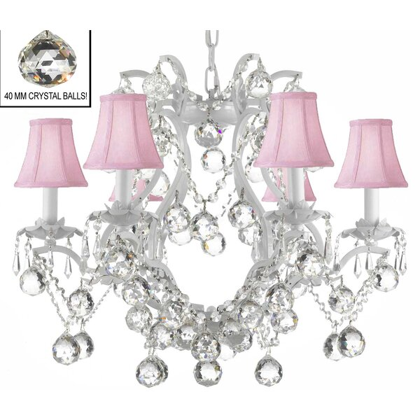 Dacia 6 - Light Shaded Empire Chandelier with Wrought Iron Accents by Rosdorf Park Rosdorf Park