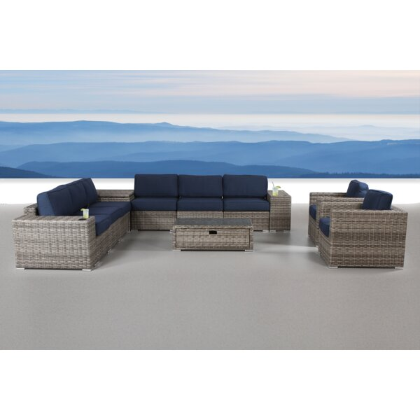 Rosston 12 Piece Rattan Sunbrella Conversation Set with Cushions by Sol 72 Outdoor