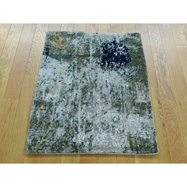 One-of-a-Kind Bowen Abstract Design Handwoven Wool/Silk Area Rug by Isabelline