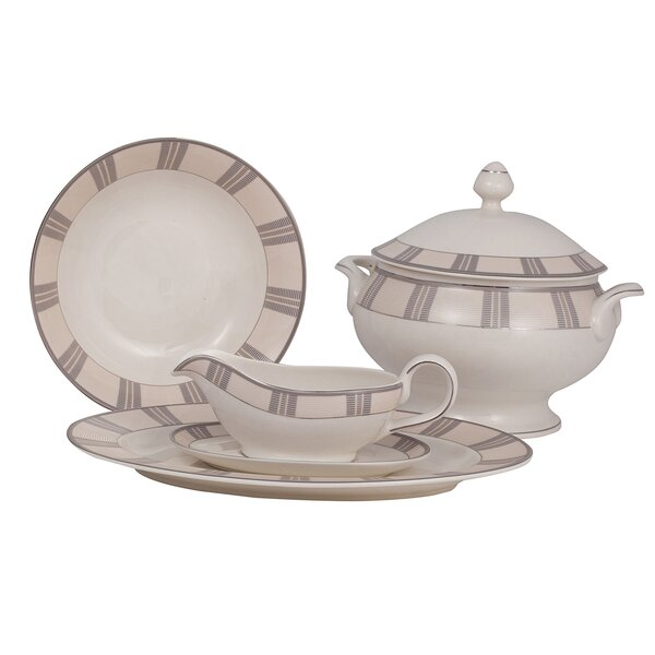 Linen Ivory China Special Serving 5 Piece Dinnerware Set by Shinepukur Ceramics USA, Inc.