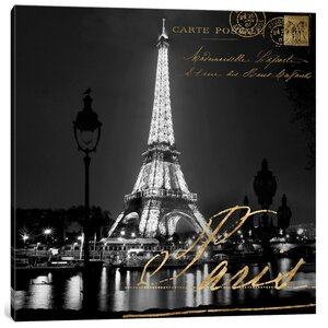 'Paris At Night' Graphic Art Print on Canvas by East Urban Home