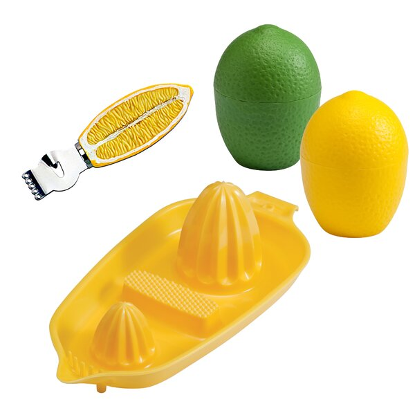 4-Piece Lemon, Lime, Citrus Zester and Twin Juicer Set by Hutzler