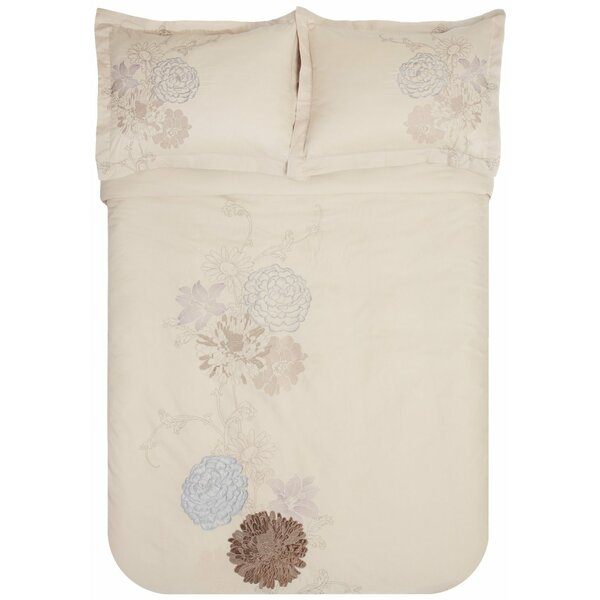 Fieldstone 3 Piece Embroidered Reversible Duvet Set By Simple Luxury.