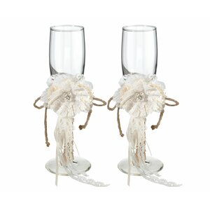 Rustic Burlap Toasting Glass Champagne Flute (Set of 2)