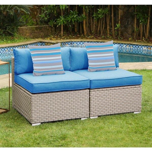 Kyson Outdoor Furniture Armless Loveseat with Cushions by Rosecliff Heights