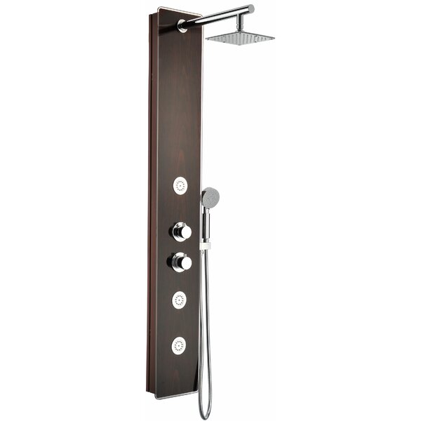 Full Body Shower Panel System with Heavy Rain Shower and Spray Wand in Mahogany Style Deco-Glass by ANZZI